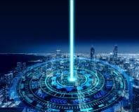 Έξυπνοι κύκλοι πόλεων και τεχνολογίας Γραφικό σχέδιο στο Σικάγο στοκ εικόνες