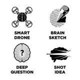 Έξυπνος εγκέφαλος και καινοτόμο πρότυπο εικονιδίων ιδέας νοημοσύνης διανυσματικό απεικόνιση αποθεμάτων