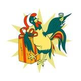 Έξυπνος κόκκορας με ένα ποτήρι της σαμπάνιας και ενός δώρου απεικόνιση αποθεμάτων