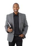 Έξυπνος μαύρος επιχειρηματίας με το διοργανωτή Στοκ φωτογραφία με δικαίωμα ελεύθερης χρήσης
