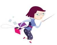 Έξυπνος τρέχοντας δάσκαλος σχολείου με την υπόδειξη του ραβδιού, του συνδέσμου αρχείων και της ανοιγμένης τσάντας Στοκ φωτογραφία με δικαίωμα ελεύθερης χρήσης