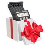 Έξυπνος φορτιστής μπαταριών μέσα στο κιβώτιο δώρων, έννοια δώρων τρισδιάστατο renderin Στοκ Φωτογραφίες
