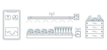 Έξυπνο αγρόκτημα και γεωργία Παρακολούθηση και έλεγχος της θερμοκρασίας, υγρασία, ελαφρύ επίπεδο Καλλιέργεια των φυτών νέες τεχνο διανυσματική απεικόνιση