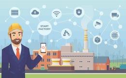 Έξυπνο εργοστάσιο Ο επιχειρηματίας με το τηλέφωνο στις ενάρξεις χεριών του και διαχειρίζεται τις τεράστιες εγκαταστάσεις με την ε Στοκ Εικόνες