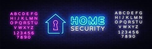 Διανυσματικό πρότυπο σχεδίου σημαδιών νέου εγχώριας ασφάλειας Έξυπνο λογότυπο νέου εγχώριας ασφάλειας, ελαφρύ στοιχείο σχεδίου εμ ελεύθερη απεικόνιση δικαιώματος