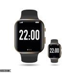 Έξυπνο μαύρο χρυσό ρολόι Στοκ Εικόνες