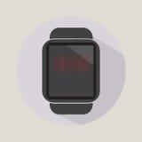 Έξυπνο ρολογιών χρονικής ώρας σύγχρονο τεχνολογίας ηλεκτρονικής λογότυπο εικονιδίων εφαρμογής απλό επίπεδο Στοκ Εικόνα