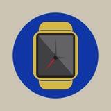 Έξυπνο ρολογιών χρονικής ώρας σύγχρονο τεχνολογίας ηλεκτρονικής λογότυπο εικονιδίων εφαρμογής απλό επίπεδο Στοκ Φωτογραφίες
