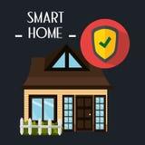 Έξυπνο σπίτι με την υπηρεσία ασφάλειας ασπίδων Στοκ φωτογραφίες με δικαίωμα ελεύθερης χρήσης