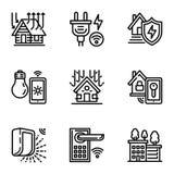 Έξυπνο σύνολο εικονιδίων σπιτιών, ύφος περιλήψεων ελεύθερη απεικόνιση δικαιώματος