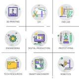 Έξυπνο σύνολο εικονιδίων παραγωγής αυτοματοποίησης μηχανημάτων βιομηχανικό, τρισδιάστατη εκτύπωσης τεχνολογίας συλλογή εργαστηρίω Στοκ εικόνα με δικαίωμα ελεύθερης χρήσης
