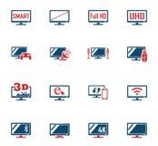 Έξυπνο σύνολο εικονιδίων TV Στοκ φωτογραφία με δικαίωμα ελεύθερης χρήσης