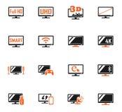 Έξυπνο σύνολο εικονιδίων TV Στοκ εικόνες με δικαίωμα ελεύθερης χρήσης