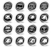 Έξυπνο σύνολο εικονιδίων TV Στοκ Εικόνες