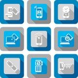 Έξυπνο σύνολο σχεδίου εικονιδίων τηλεφωνικής NFC επικοινωνίας Στοκ φωτογραφία με δικαίωμα ελεύθερης χρήσης