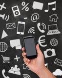Έξυπνο σύνολο τηλεφώνων και εικονιδίων Στοκ φωτογραφία με δικαίωμα ελεύθερης χρήσης