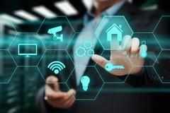 Έξυπνο σύστημα ελέγχου εγχώριας αυτοματοποίησης Έννοια δικτύων Ίντερνετ τεχνολογίας καινοτομίας Στοκ Εικόνα