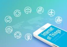 Έξυπνο τηλέφωνο με Διαδίκτυο της λέξης IoT πραγμάτων και του εικονιδίου αντικειμένων, Στοκ Εικόνες