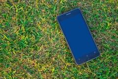 Έξυπνο τηλέφωνο στο έδαφος με το διάστημα αντιγράφων, η τεχνολογία ομο Στοκ Εικόνα