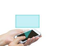 Έξυπνο τηλέφωνο και διαφανές ορθογώνιο που απομονώνονται Στοκ Εικόνες