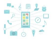Έξυπνο τηλέφωνο και infographics λειτουργιών Στοκ εικόνα με δικαίωμα ελεύθερης χρήσης