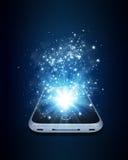 Έξυπνο τηλέφωνο με τα μαγικά ελαφριά και μειωμένα αστέρια ελεύθερη απεικόνιση δικαιώματος