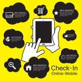 έξυπνο τηλέφωνο οθόνης αφής, infographic Στοκ Φωτογραφίες