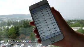 Έξυπνο τηλέφωνο που κατέχουν τα χέρια με τη σφαιρική συναλλαγματική ισοτιμία στο iphone απόθεμα βίντεο