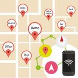 Έξυπνο τηλέφωνο πλοηγών με το εικονίδιο στο χάρτη Στοκ Φωτογραφία