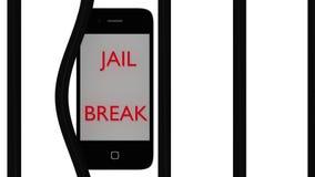 Έξυπνο τηλεφωνικό ξέσπασμα της φυλακής Στοκ εικόνα με δικαίωμα ελεύθερης χρήσης