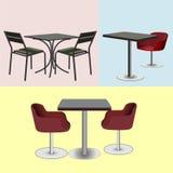 Έπιπλα για τους φραγμούς και τους πίνακες και τις καρέκλες καφέδων Στοκ Φωτογραφία