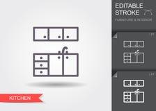 Έπιπλα κουζινών Εικονίδιο γραμμών με το editable κτύπημα με τη σκιά απεικόνιση αποθεμάτων