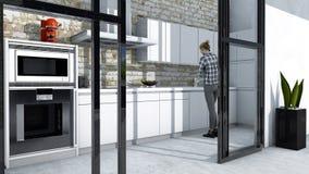 Έπιπλα κουζινών, εσωτερικό σχέδιο, έπιπλα κουζινών Έπιπλα και συσκευές για την κουζίνα διανυσματική απεικόνιση