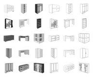 Έπιπλα κρεβατοκάμαρων μονο, εικονίδια περιλήψεων στην καθορισμένη συλλογή για το σχέδιο Σύγχρονο ξύλινο απόθεμα συμβόλων επίπλων  ελεύθερη απεικόνιση δικαιώματος