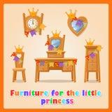 Έπιπλα για τη μικρή πριγκήπισσα και την οικογένειά της απεικόνιση αποθεμάτων