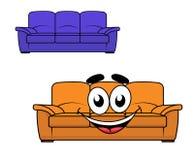 Έπιπλα καναπέδων κινούμενων σχεδίων απεικόνιση αποθεμάτων