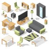 Έπιπλα που τίθενται για το δωμάτιο κρεβατιών Διανυσματικά isometric στοιχεία για το σύγχρονο σπίτι απεικόνιση αποθεμάτων