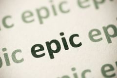 Έπος λέξης που τυπώνεται στη μακροεντολή εγγράφου στοκ εικόνα με δικαίωμα ελεύθερης χρήσης