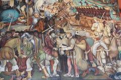 Έπος της μεξικάνικης τοιχογραφίας ανθρώπων στοκ εικόνα