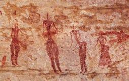 Έργα ζωγραφικής βράχου Tassili Ν ` Ajjer, Αλγερία Στοκ Εικόνα