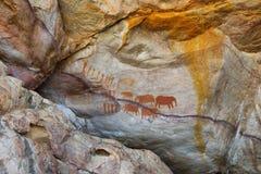 Έργα ζωγραφικής σπηλιών κατοίκων του δάσους σε Cederberg Στοκ Φωτογραφίες