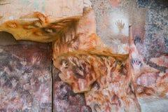 Έργα ζωγραφικής σπηλιών Cueva de las Manos Στοκ εικόνα με δικαίωμα ελεύθερης χρήσης