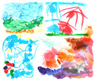 Έργα ζωγραφικής 2 Watercolor παιδιών στοκ εικόνες