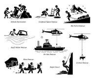 Έργα τέχνης και απεικονίσεις επιχειρήσεων διάσωσης διανυσματική απεικόνιση