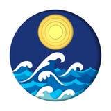 Έργο τέχνης περικοπών εγγράφου θάλασσας και φεγγαριών ελεύθερη απεικόνιση δικαιώματος