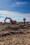 """Έργο υπό κατασκευή για να αντικαταστήσει το """"μακροχρόνιο groyne """"στο κεφάλι Hengistbury στοκ φωτογραφία με δικαίωμα ελεύθερης χρήσης"""