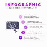 Έρευνα, αναλυτική, Analytics, στοιχεία, πληροφορίες, αναζήτηση, στερεό εικονίδιο Infographics 5 Ιστού υπόβαθρο παρουσίασης βημάτω διανυσματική απεικόνιση