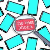 Έρευνα για το καλύτερο έξυπνο τηλέφωνο που ενισχύει - γυαλί πολλά τηλέφωνα απεικόνιση αποθεμάτων