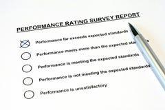 έρευνα εκθέσεων εκτίμησης απόδοσης Στοκ Φωτογραφίες