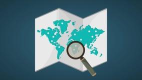 Έρευνα των θέσεων στον καθορισμό παγκόσμιων χαρτών HD ελεύθερη απεικόνιση δικαιώματος